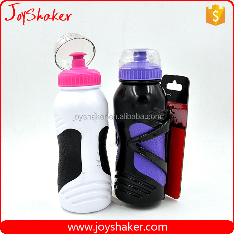 JoyShaker Outdoor Squeeze Bike Sport Bottle with Cage - Cycling Water Bottle with Lightweight Holder,16.9 Ounce Capacity