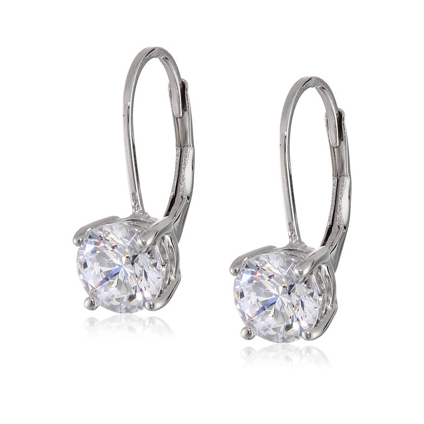 Sterling Silver Cubic Zirconia Round Leverback Stud Earrings