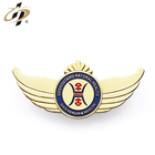 Shuanghua factory making custom wing metal badge with gold plating