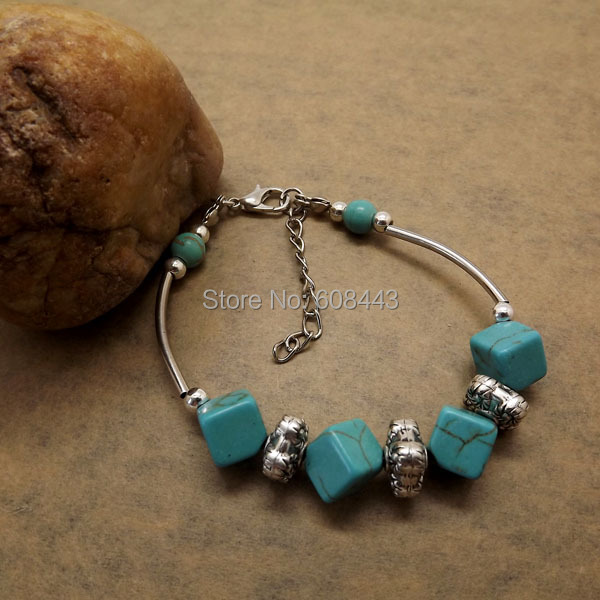 Square Charm Bracelet: BR265 Tibetan Silver Gypsy Vintage Square Beaded TURQUOISE