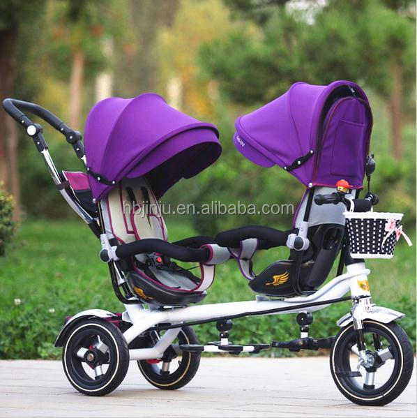 2017 new products factory sale double two seat kids children baby tricycle for twins