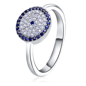 POLIVA Hot Selling 925 Sterling Silver Cubic Zirconia Pave Setting Turkish Blue Eye Rings