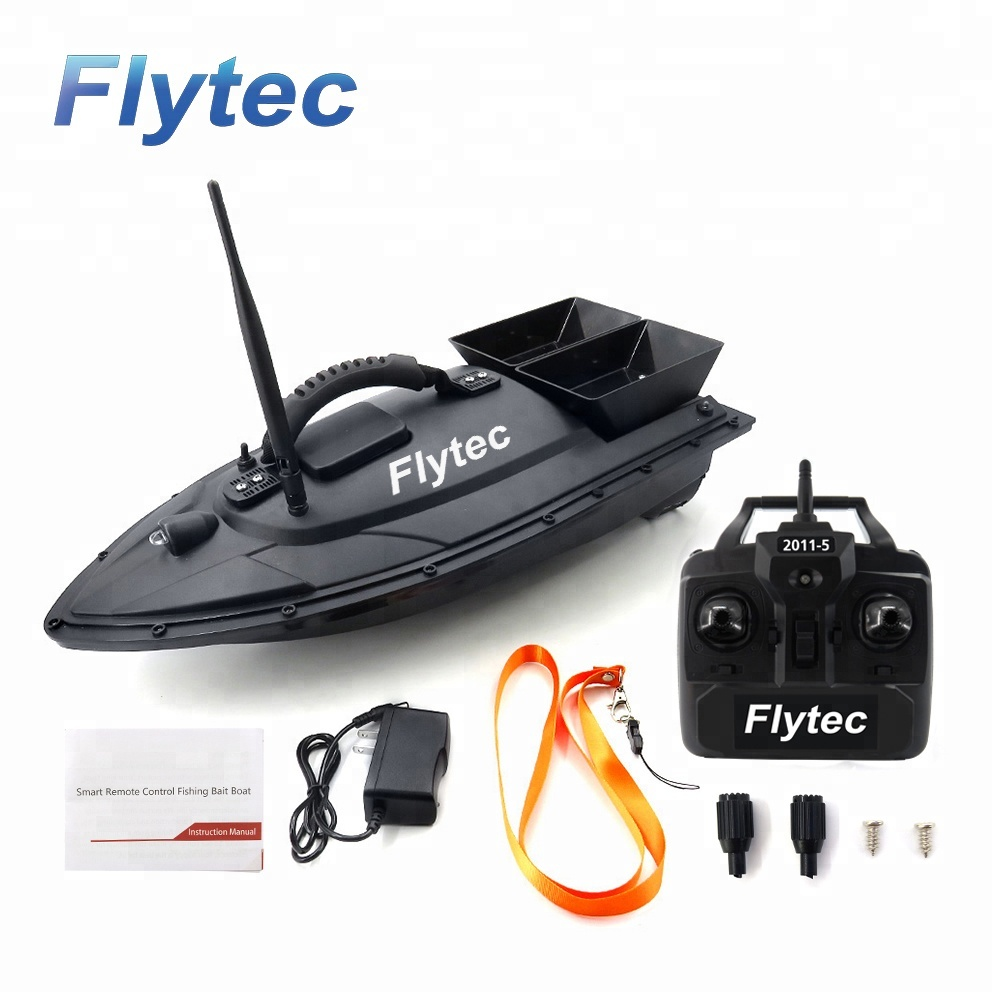 Flytec 2011-5 Fish Finder 1.5kg Loading RC Toy 2pcs Tanks with Double Motors 500M Remote Control Fishing Bait Boat, Black/green