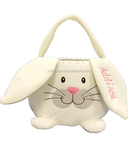 OEM easter plush bunny basket for wholesale/plush rabbit easter basket