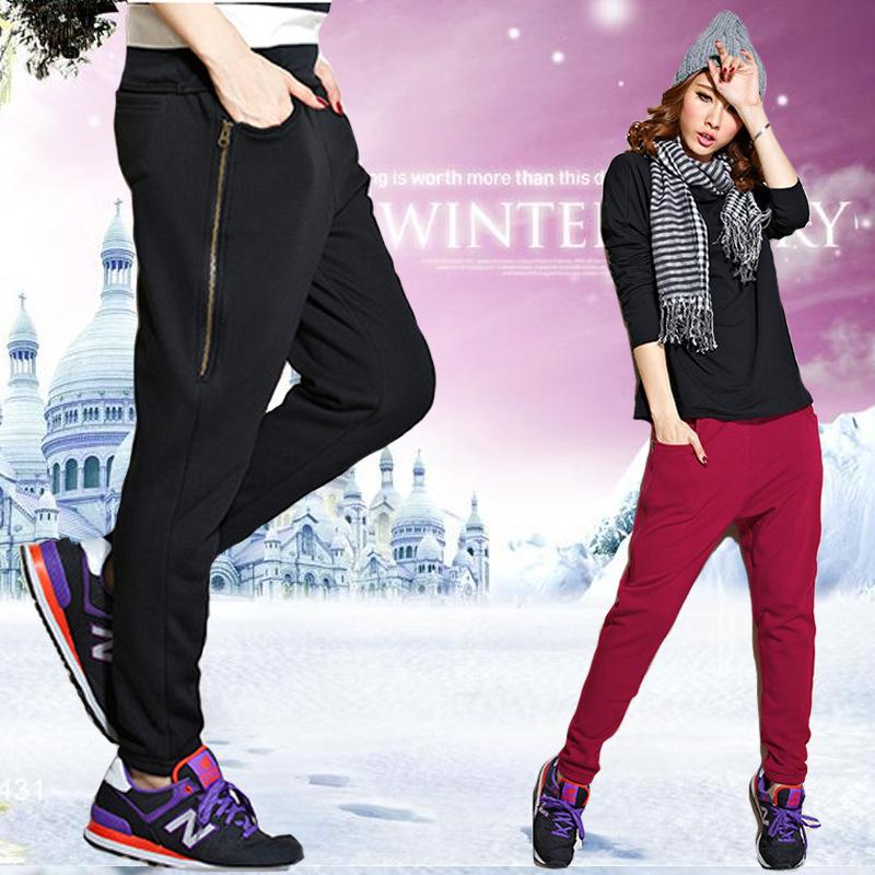 2015 новые зимой утолщаются женская спортивные свободного покроя шаровары, большой размер большой плюс женщин бархатные тренировочные брюки загрузки cut брюки 5XL