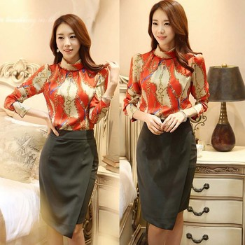 Stand Collar Blouse Designs : Wa newest design printed chiffon shirt stand collar women
