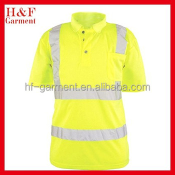 Men 39 s reflective high visibility polo shirt with pocket for Hi vis polo shirts with pocket