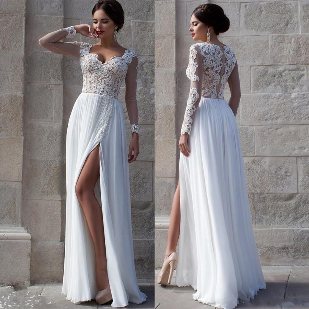 Aliexpress.com : Buy White Beach Wedding Dresses 2015 Lace