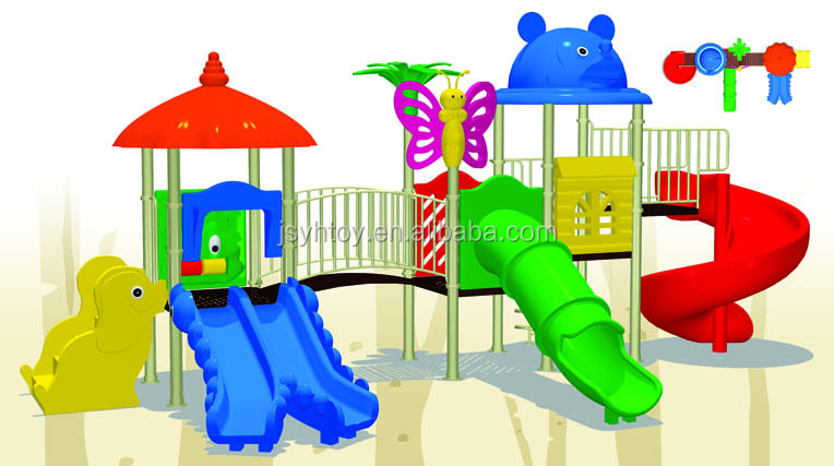 Holiday Cottage kid plastic tube slide/kids outdoor play house/platic slide