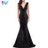 Womens fashion Sexy Lady long evening gown Formarl party Dress black color Crystal Beaded V-neck Evening Dress