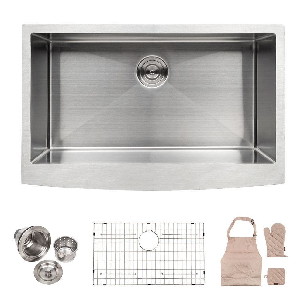 LORDEAR Commercial 33 Inch 16 Gauge 10 Inch Deep Drop In Stainless Steel Undermout Single Bowl Farmhouse Apron Front Kitchen Sink, Brushed Nickel Farmhouse Kitchen Sink