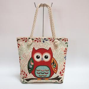 Whole Female Fabric Owl Pattern Bags Women Handbags Knitting Decor Las Canvas Beach Tote Handbag From China Supplier