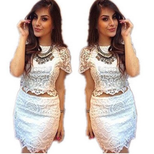 2 Piece Crop Top Pencil Skirt Set Summer Style Lace Floral Bodycon Skirt Set Mini Pencil Skirts S-XL Women Sets White 2585