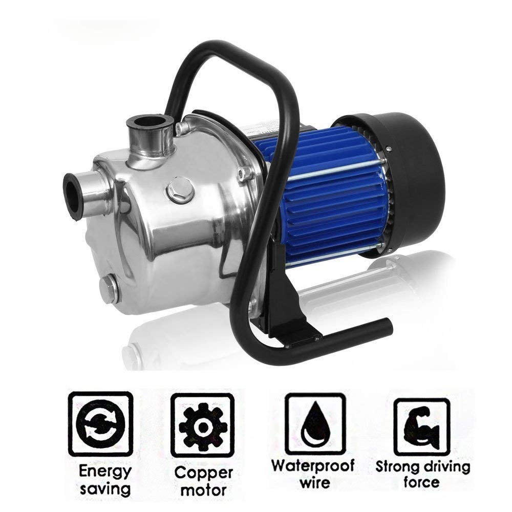 1.6HP Stainless Shallow Well Pump Booster Sprinkling Garden Yard Pump, High Capacity Automatic ON/OFF Water Removal Pool Cover Pump[US STOCK]