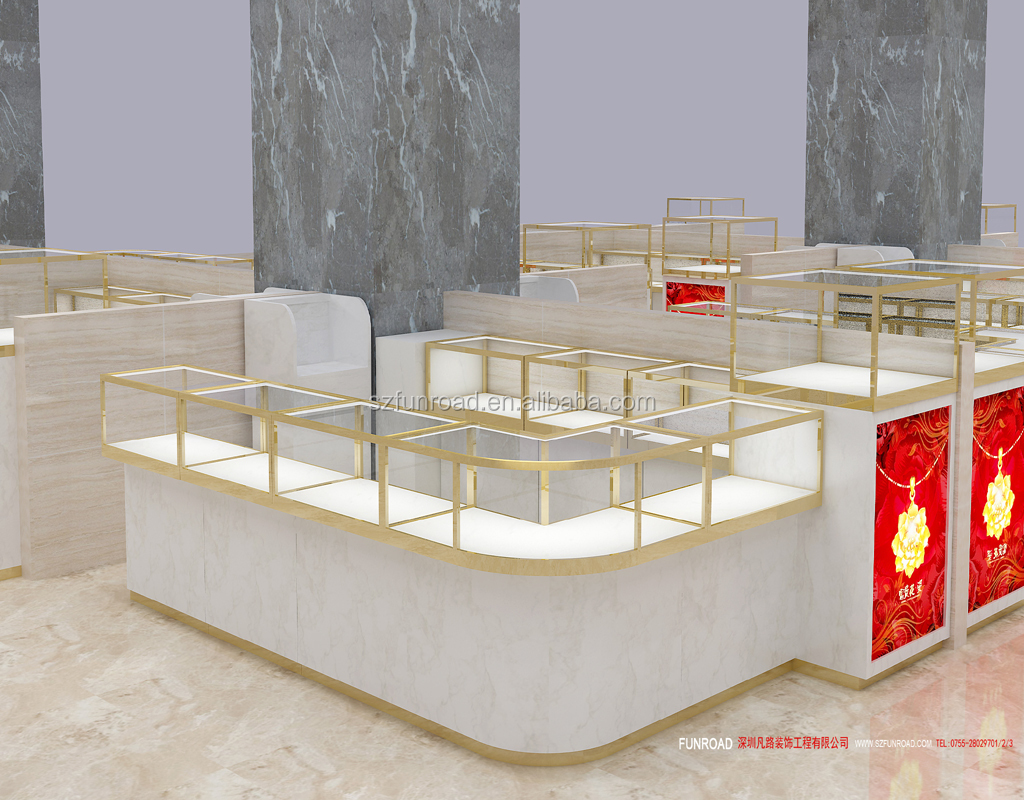 Modern design Jewelry cabinet kiosk display for jewelry shopping mall for sell