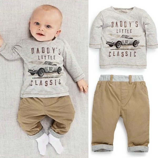 2pcs Kids Baby Children Boy Cotton Long Sleeve Shirt Tops Long Pants Suit 1 3TZQ1