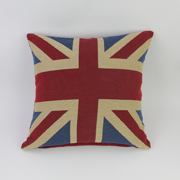 Office Sofa Cotton And Flax British Flag Simple Cushion