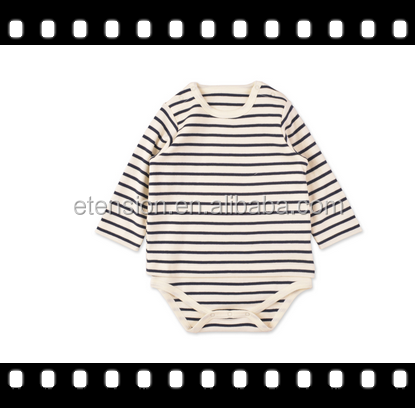 Long sleeve baby ramper cotton ramper ,stripe baby sleeper sweater