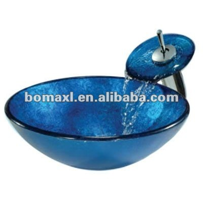 Blue Bathroom Cabinet Glass Sink Wash Basin with Waterfall Faucet