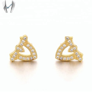 Fashion Wholesale Ear Studs 18k Gold CZ Diamond Gemstone Earring