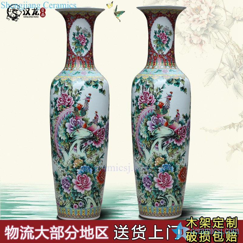 wholesales antique chinese high yellow floor ceramic porcelain flower vase large for office decoration