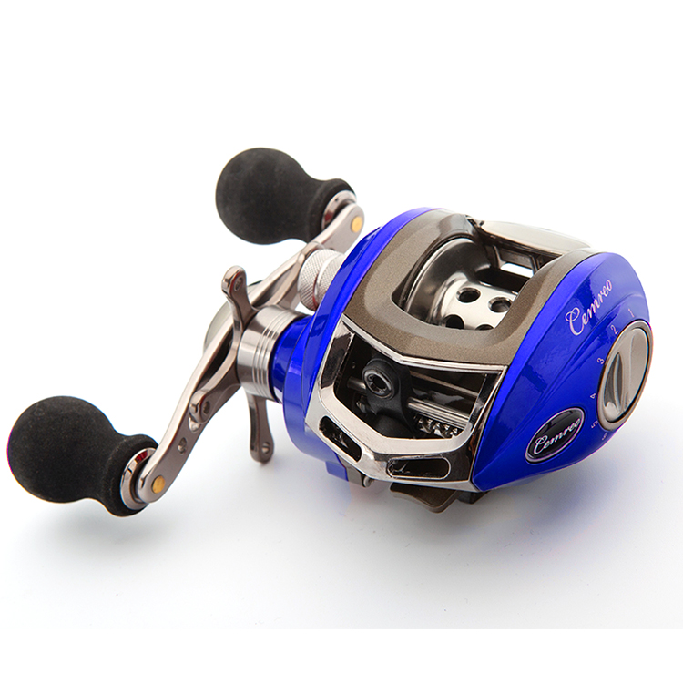 CEMREO Hot Sale Saltwater CNC Baitcasting Reel Fishing Right Hand Left Hand, Gold/red/blue