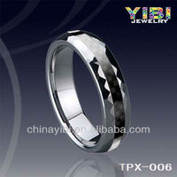 New Fashion Western Diamond Cutting Grooved Tungsten Ring, TPX-006, Paypal
