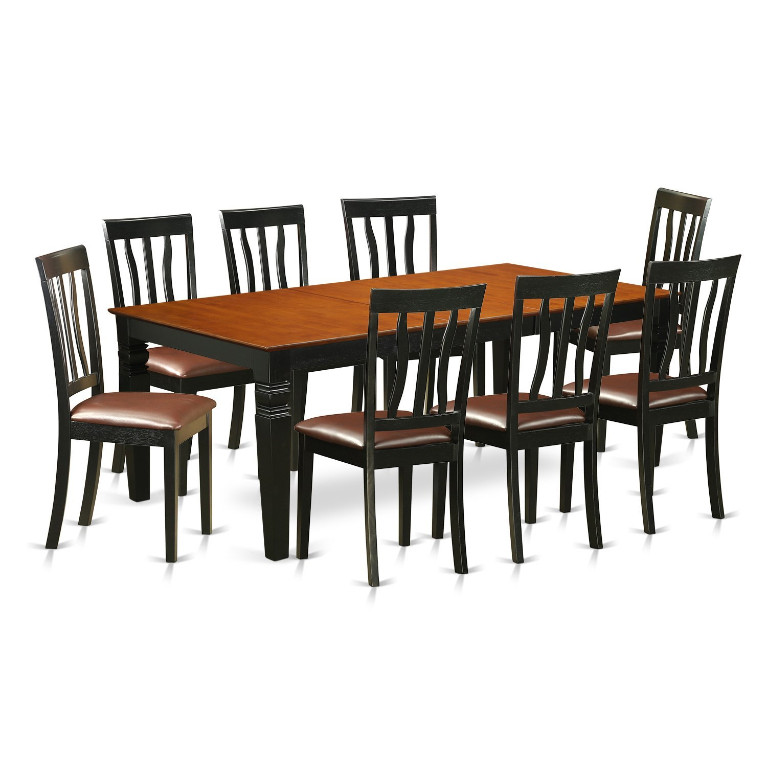 East West Furniture LGAN9-BCH-LC 9 Pc Kitchen Table Set with a Dining Table and 8 Kitchen Chairs in Black and Cherry