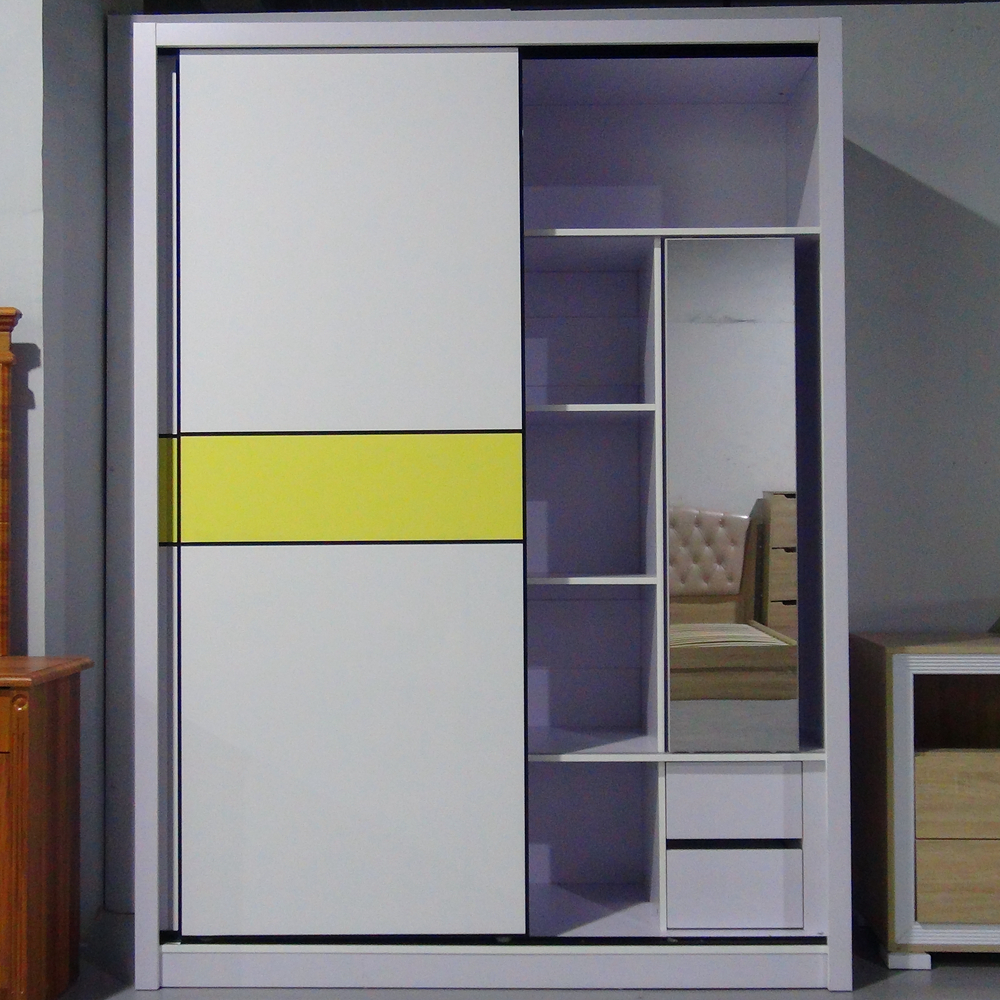 Modern Fashionable Cheap Melamine Sliding Door Wardrobe With Zero