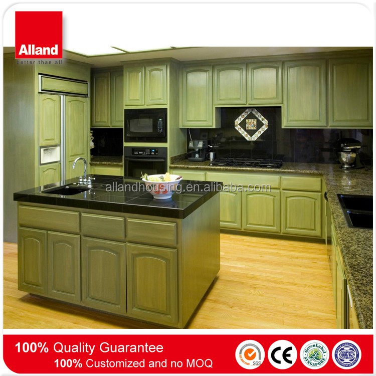 affordable natural brown solid wood L-shape kitchen cabinets with some drawers and kitchen island