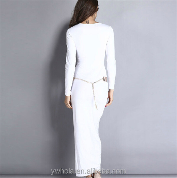 New arrival custom sexy spandex cotton long sleeve deep v-neck side split party maxi dress