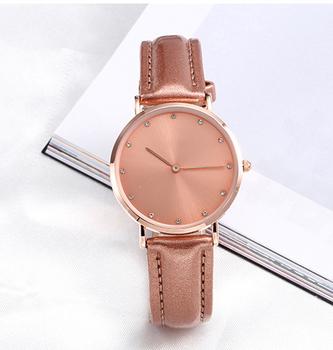 Custom Logo New Model Women s Ladies Wrist Watches Elegant Rose Gold Bezel  with Rose Gold Leather 2ac55fa71f