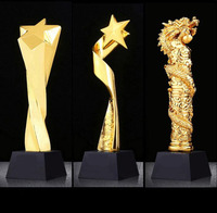 custom logo golden polyresin resin star shape award black base crystal trophy graduation business Souvenir gift decor ornaments