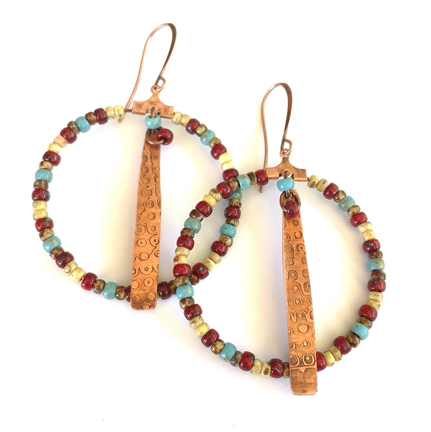 Boho Beaded Hoop Earrings in Red, Turquoise, White and Brown with Textured Copper Drops by BANDANA GIRL Gypsy Bohemian