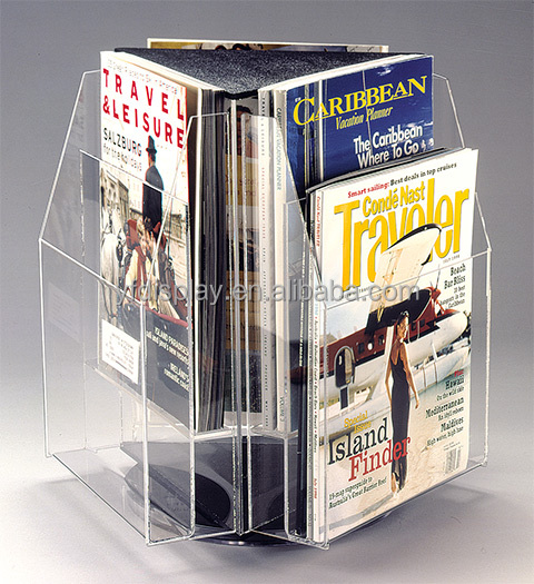 Hot Sell Stand Roated Trangle Acrylic Magazine Holder, Brochure Holder