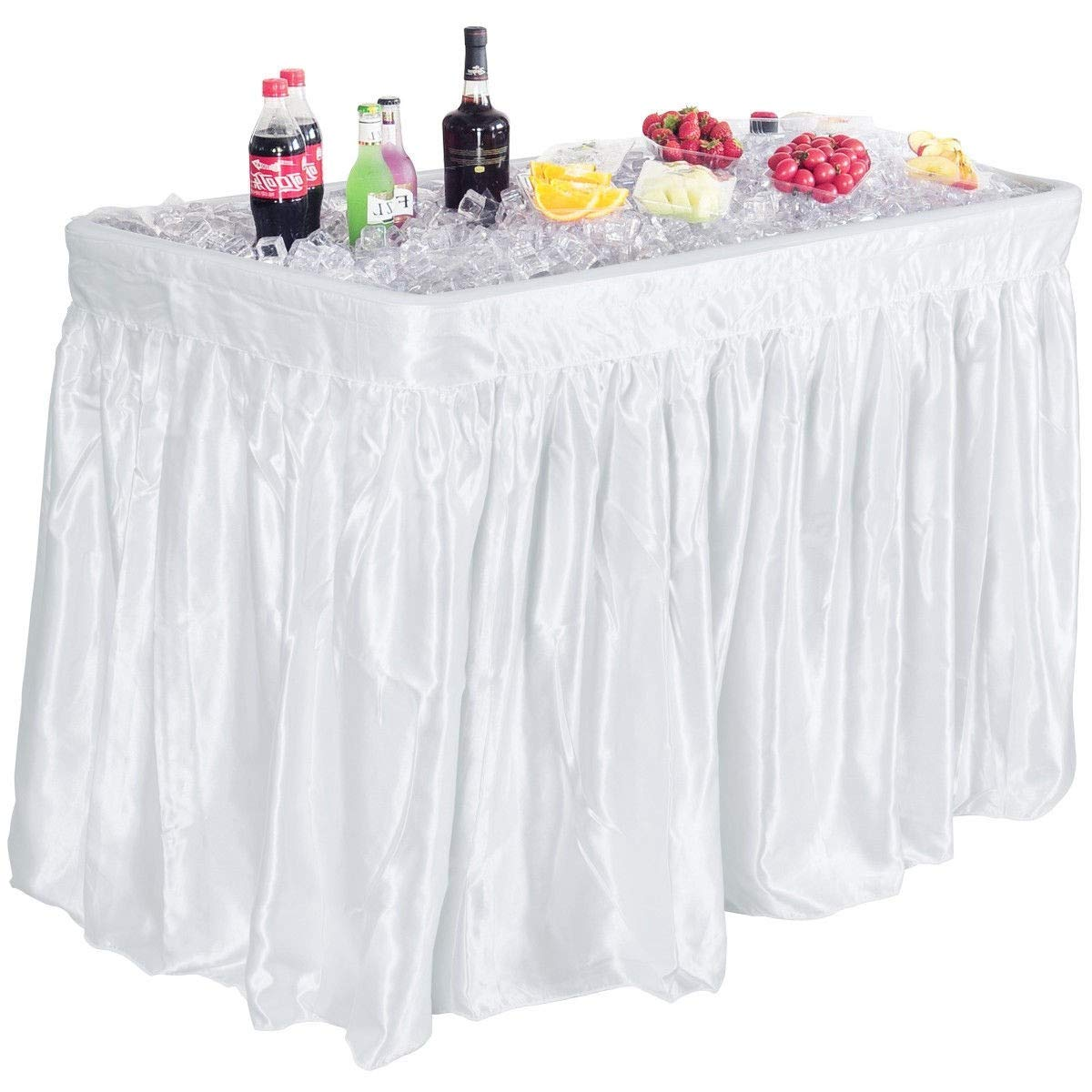 Get Quotations  C2 B Foot Party Ice Cooler Folding Table Plastic With Matching Skirt White