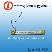 90mAh 3.7v rechargeable li-po battery with PCB