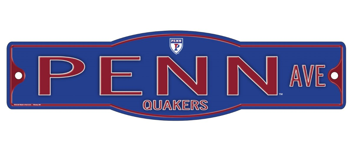 "Penn Quakers University of Pennsylvania Quakers 4"" x 17"" Street Sign NCAA"
