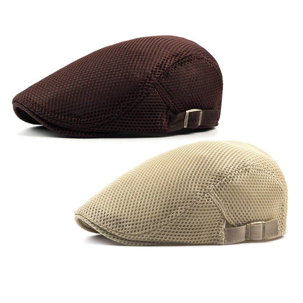 1636ea03eee6b Get Quotations · ZLSLZ 2 Pack Mens Mesh Breathable Ivy Newsboy Cabbie  Gatsby Golf Flat Sun Hat Cap