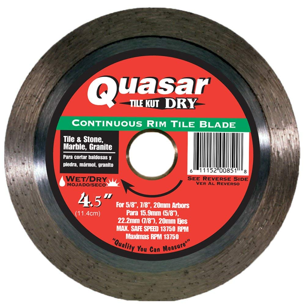 Quasar Tile-Kut Platinum D/W 4.5-Inch Continuous Rim Tile Diamond Blade Fits 5/8-7/8 Right Angle Grinder Arbors for Cutting Tile, Stone, Marble and Granite (2-Pack)