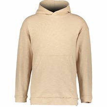 Men Fashion Model Slim Fitted Beige Knitted Pullover Hoodie