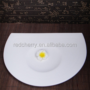 Hotel restaurant tableware cold dish dish 12 inch sushi plate cake plate semicircular plates