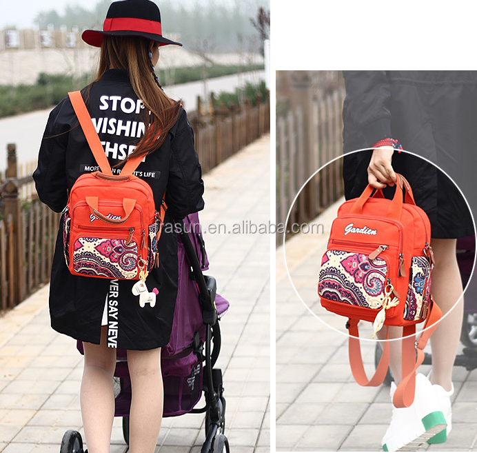original design fashionable pattern water washing cotton canvas mini back pack handbag crossbody bag