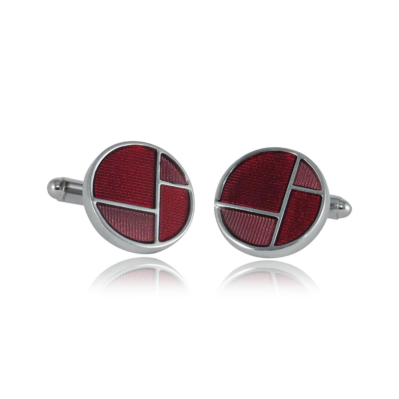 Cuff-Daddy Retro Reflective Red & Pink Enamel Round Silver Cufflinks with Presentation Box