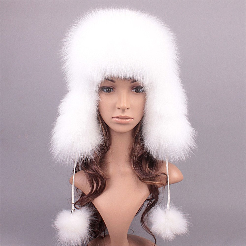 db74f22c71b Get Quotations · Roniky Women s Real Fox Fur Russian Trooper Ushanka Hat  Winter Fur Hat with Ear Flaps