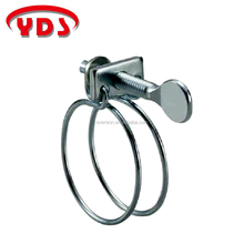 Spring double wire hose pipe clamp clip with metallic flat head