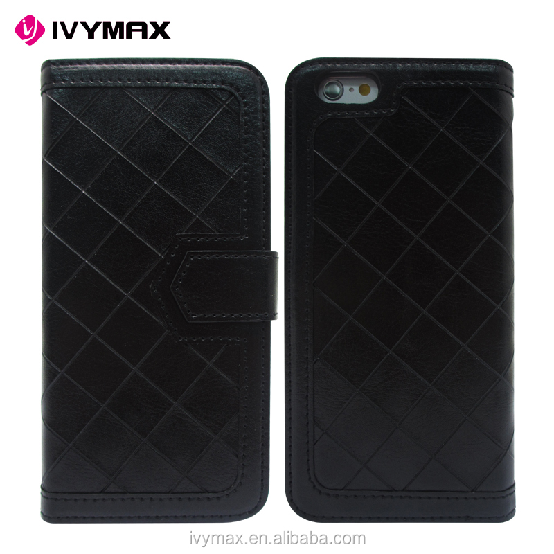 2016 new design top quality slim black grid wallet flip leather case cover for iphone 6