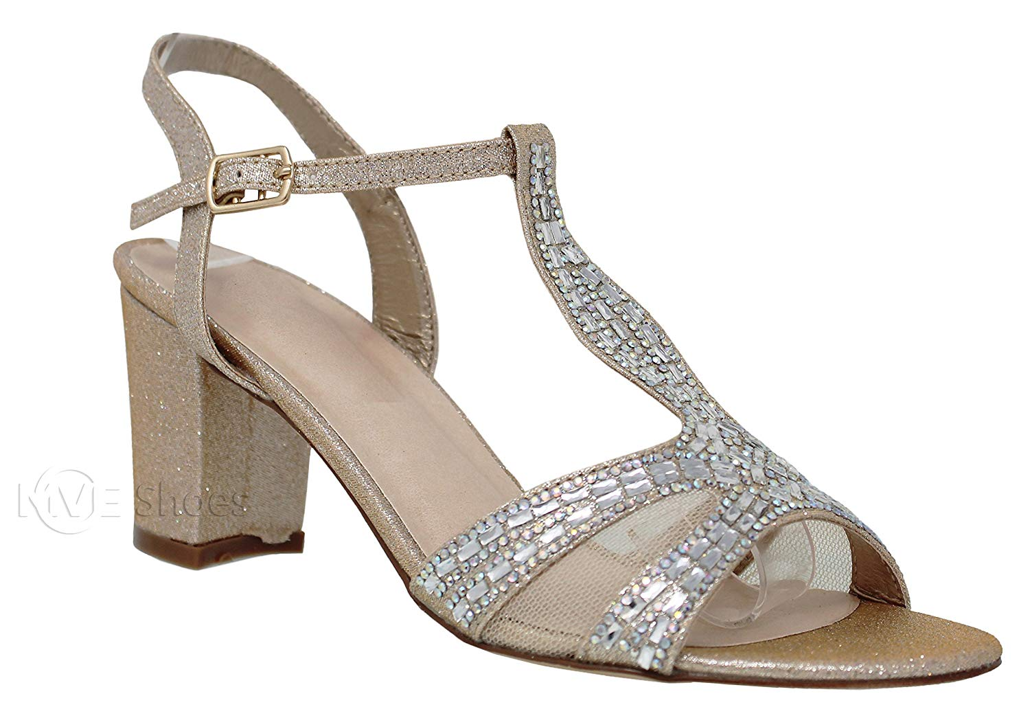 MVE Shoes Women's T Strap Open Toe - Rhinestone Block Heel - Sparkle Party Sandal - Ankle Buckle Sexy Low Heel