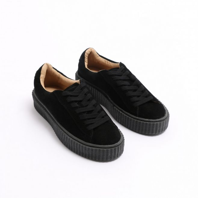 Cheap Made in China Platform Creeper Sneaker Trendy Lace Up Shoe Cute Faux Suede Sneaker