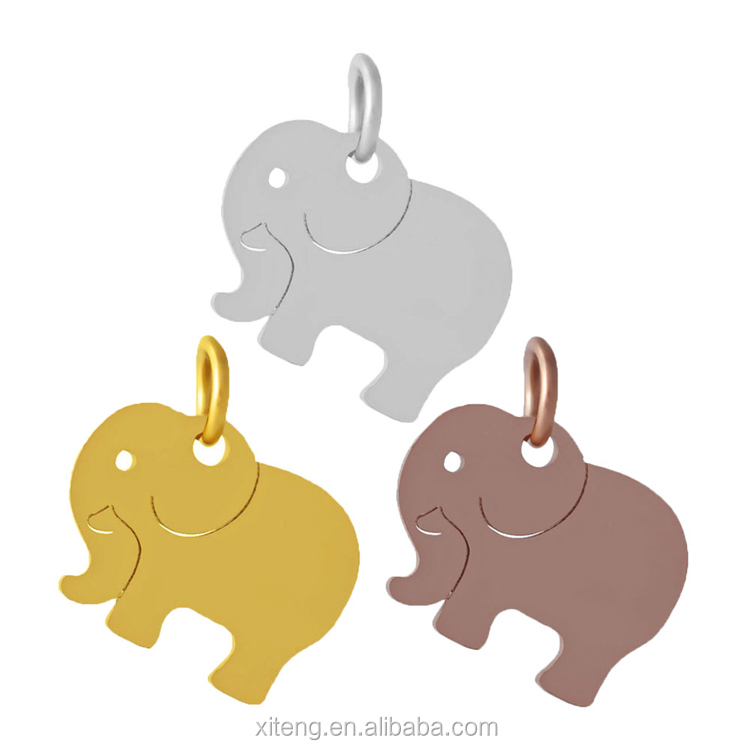 Custom Personalized Wholesale Pendant Stainless Steel Cute Elephant Animal Charm for Jewelry Making Findings, Steel/gold/rose gold